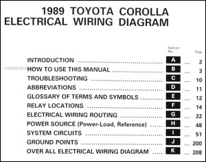 1989 Toyota Corolla Wiring Diagram Manual Original