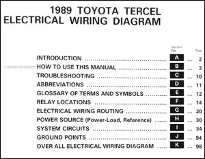 1989 Toyota Tercel Wiring Diagram Manual Original