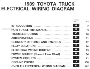 1989 Toyota Pickup Truck Wiring Diagram Manual Original