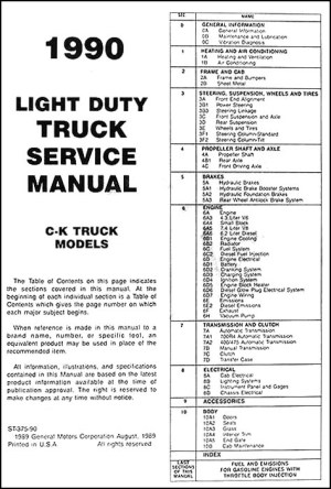 1990 Chevrolet CK Pickup Truck Repair Shop Manual Original