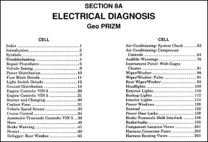1991 Geo Prizm Electrical Diagnosis Manual Original