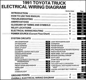 1991 Toyota Pickup Truck Wiring Diagram Manual