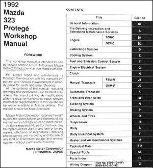 1992 Mazda 323 & Protege Repair Shop Manual Original