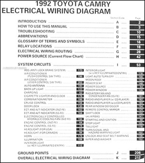 1992 Toyota Camry Wiring Diagram Manual Original