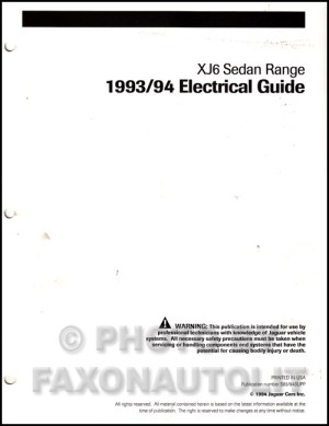 19931994 Jaguar XJ6 Electrical Guide Wiring Diagram Original Supp