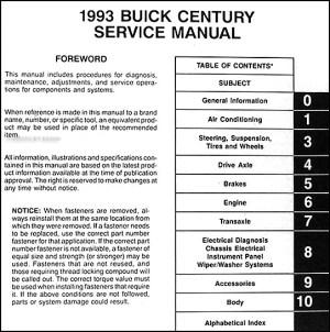 1993 Buick Century Repair Manual 93 Custom Special Ltd   eBay