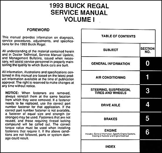Wiring Diagram 1993 Buick Regal