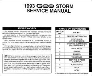 1993 Geo Storm Shop Manual 93 Original Repair Service Book