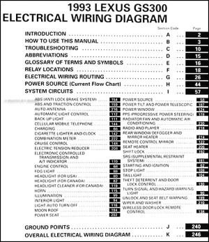 1993 Lexus GS 300 Wiring Diagram Manual Original