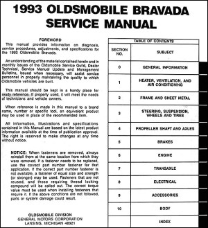 1993 Oldsmobile Bravada Repair Shop Manual Original