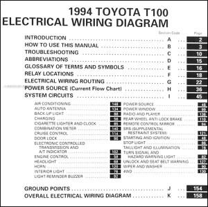 1994 Toyota T100 Truck Wiring Diagram Manual Original