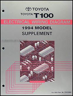 1994 Toyota T100 Truck Wiring Diagram Manual Original Supplement