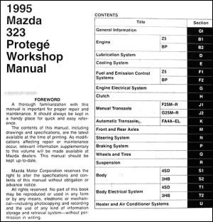 1995 Mazda 323 and Protege Repair Shop Manual 95 | eBay