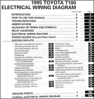 1995 Toyota T100 Truck Wiring Diagram Manual Original