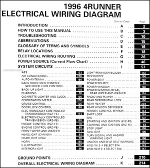 1996 Toyota 4Runner Wiring Diagram Manual Original