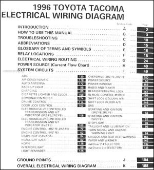 1996 Toyota Taa Pickup Wiring Diagram Manual Original
