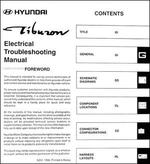 1997 Hyundai Tiburon Electrical Troubleshooting Manual