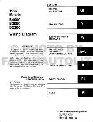 1997 Mazda B4000 B3000 B2300 Pickup Truck Wiring Diagram