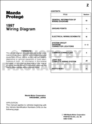 1997 Mazda Protege Wiring Diagram Manual Original
