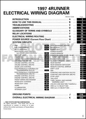 1997 Toyota 4Runner Wiring Diagram Manual Original