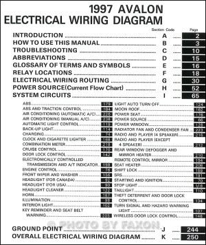 1997 Toyota Avalon Wiring Diagram Manual Original