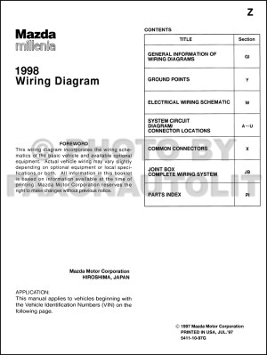 1998 Mazda Millenia Wiring Diagram Manual Original