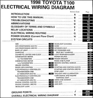 1998 Toyota T100 Truck Wiring Diagram Manual Original