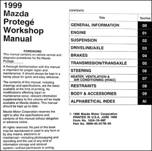 1999 Mazda Protege Repair Shop Manual Original