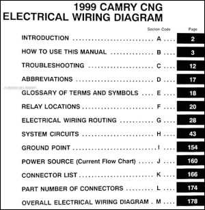 1999 Toyota Camry CNG Wiring Diagram Manual Original