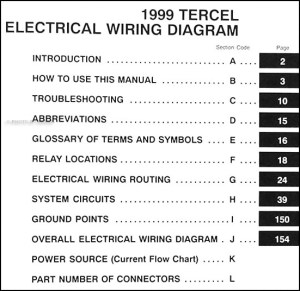 1999 Toyota Tercel Wiring Diagram Manual Original