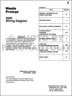 2000 Mazda Protege Wiring Diagram Manual Original