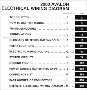 2000 Toyota Avalon Wiring Diagram Manual Original