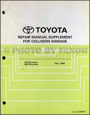 2000 Toyota Camry Solara Convertible Repair Shop Manual Original Supplement