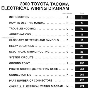 2000 Toyota Taa Pickup Wiring Diagram Manual Original