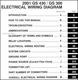 2001 Lexus GS 300 & GS 430 Wiring Diagram Manual Original