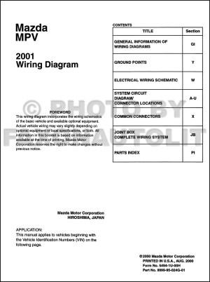 2001 Mazda MPV Wiring Diagram Manual Original