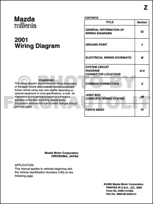 2001 Mazda Millenia Wiring Diagram Manual Original