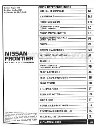 2001 Nissan Frontier Pickup Repair Shop Manual Set Original