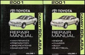 2001 Toyota Camry Solara Repair Shop Manual Original Set