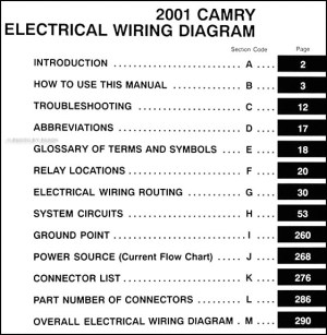 2001 Toyota Camry Wiring Diagram Manual Original