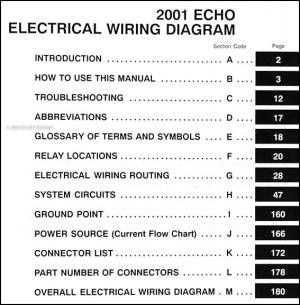 2001 Toyota Echo Wiring Diagram Manual Original