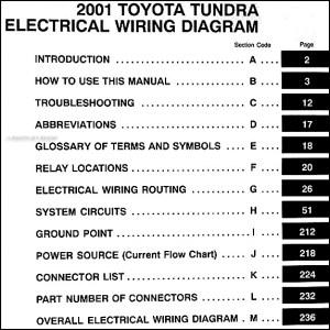 2001 Toyota Tundra Wiring Diagram Manual Original