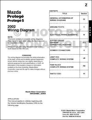 200220025 Mazda Protege Wiring Diagram Manual Original