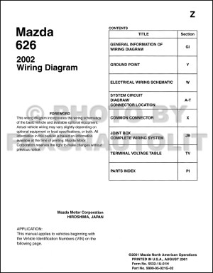 2002 Mazda 626 Wiring Diagram Manual Original