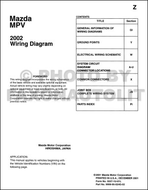 2002 Mazda MPV Wiring Diagram Manual Original