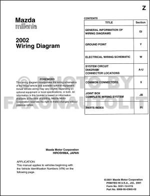 2002 Mazda Millenia Wiring Diagram Manual Original