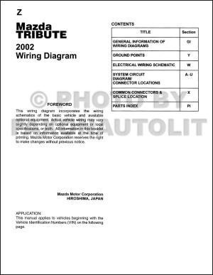 2002 Mazda Tribute Wiring Diagram Manual Original