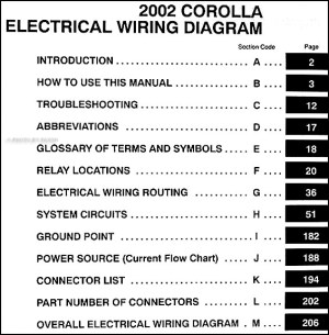 2002 Toyota Corolla Wiring Diagram Manual Original