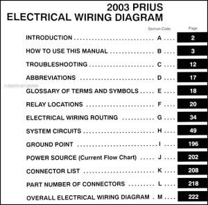 2003 Toyota Prius Wiring Diagram Manual Original
