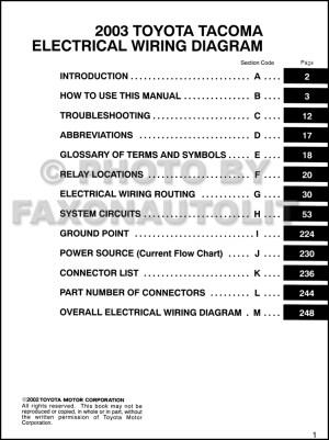 2003 Toyota Taa Pickup Wiring Diagram Manual Original